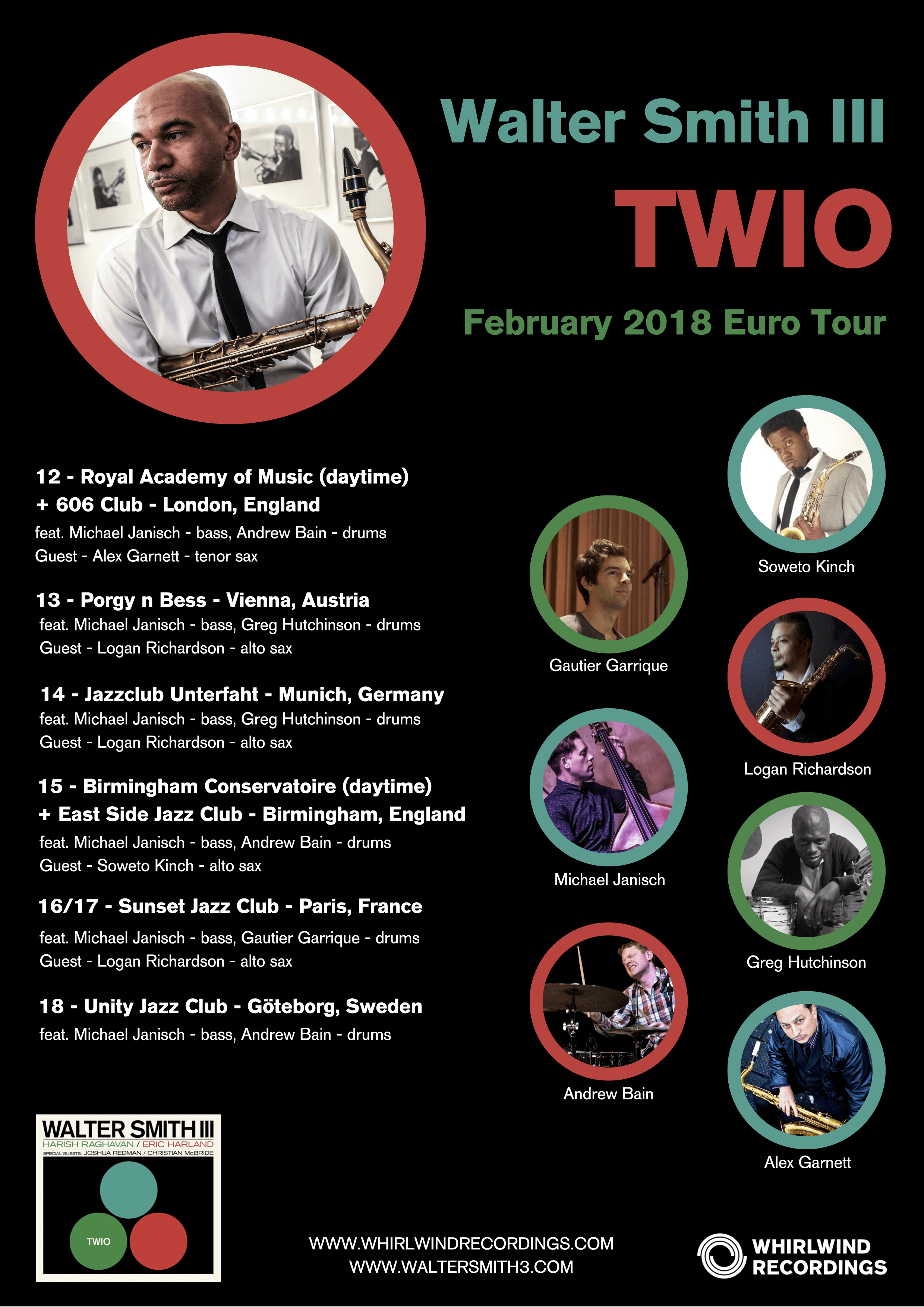 Walter Smith III Euro Tour 2018 for 'Twio' - dates & guests